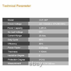 50A Plasma Cutter Machine CUT50 Pilot Arc CNC Compatible P80 Torches 220V UK