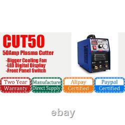 50A Plasma Cutter Machine Inverter Air Pressure Gauge Digital Display 4M torch
