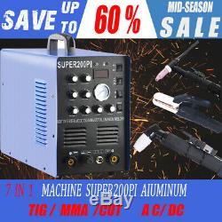7 in 1 Plasma Cutter Machine IGBT 200A AC/DC PULSE TIG/MMA Aluminum Welder 230v