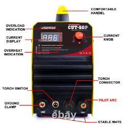 Pilot ARC 50 Amp Air Plasma Cutter DC Inverter Cutting Machine IGBT CUT 220v