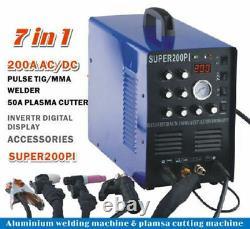 Soudeur Aluminium Super200pi 200a Tig/mma Machine De Soudage 50a Plasma Cutter +acc